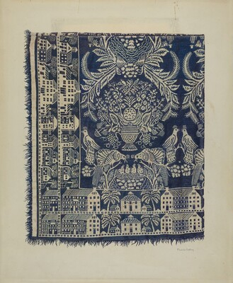Blue and White Woolen Coverlet