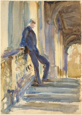 Sir Neville Wilkinson on the Steps of the Palladian Bridge at Wilton House
