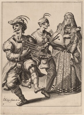 A Veiled Woman with Two Musicians Playing a Gridiron and a Bellows