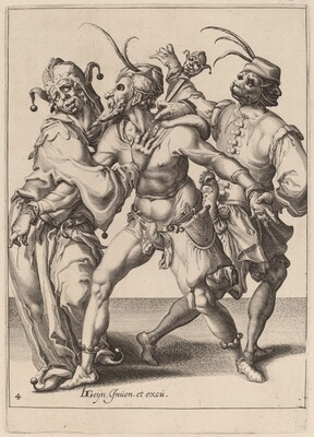 Three Dancing Mummers, Including a Jester