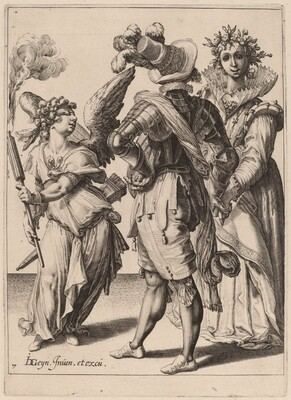 A Blindfolded Cupid Holding a Torch Before a Couple