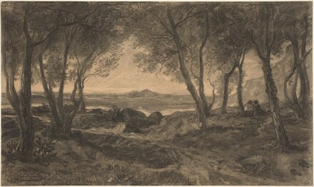 A Couple Seated among Trees above a Lake