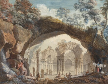 Architectural Fantasy: Ruins of a Circular Temple Seen through a Natural Arch