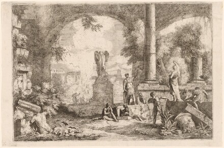 Capriccio of Antique Ruins with Men Gazing at a Classical Orator