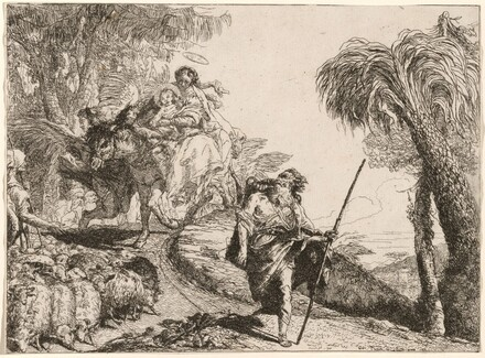 The Holy Family Descending a Path near Shepherds