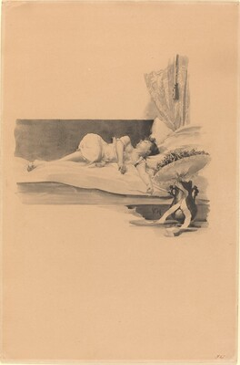 Illustration for Jestrab Kontra Hrdlicka, XXII (Girl asleep on a bed)