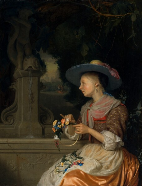 Woman Weaving a Crown of Flowers
