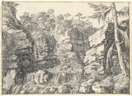 A Waterfall between Rocky Cliffs