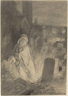 A Man Fleeing from a Nun Praying in a Cemetery