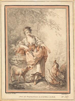 Woman Feeding Chickens