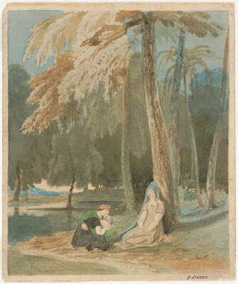 Three Women Seated by a Wooded Lake