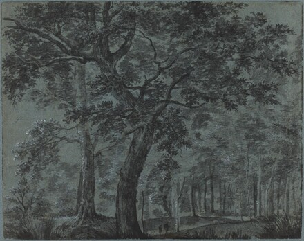 Woods at Night with Travelers
