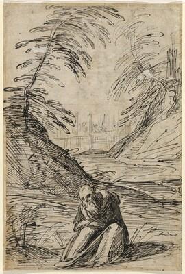 Desert Landscape with a Hermit (verso)