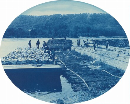 Construction of Rock and Brush Dam, L[ow]. W[ater]. 1891