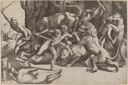 Five Men Fighting Beasts