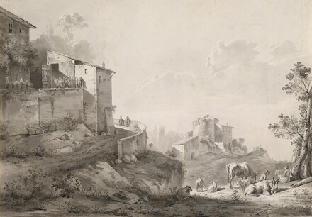 A Sunlit Landscape with Hilltop Houses