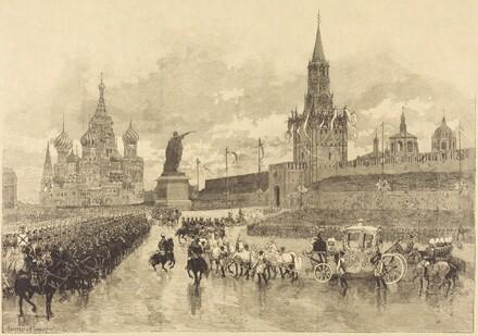 Le Couronnement du Tzar.  Le Cortège imperiale traverse la Place Royale