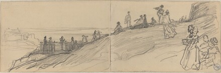 Figures on Top of a Hill, Overlooking the Sea