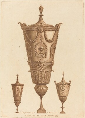 Three Classical Vases, One with Garlands