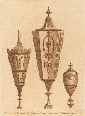 Three Classical Vases, One with Satyr Heads