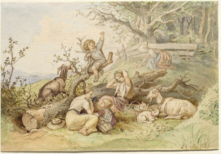 Children and Goats Resting by a Felled Tree