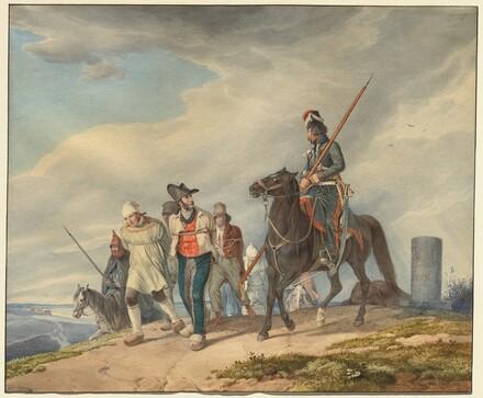 Three Armed Riders Escorting Prisoners near Reims