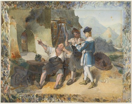 Fridolin and Two Workmen by the Forge