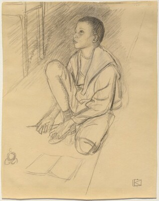 The Artist's Son Wolf Crouching on the Floor
