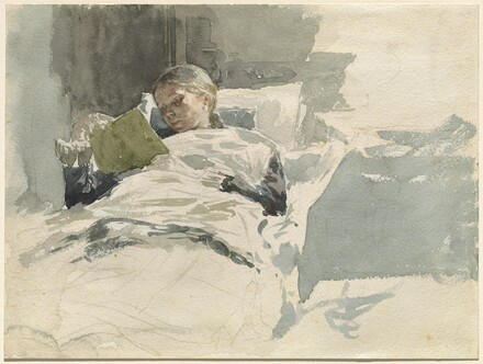The Artist's Wife Reading in Bed