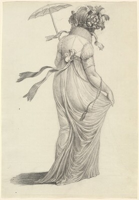A Fashionable Young Woman Seen from Behind