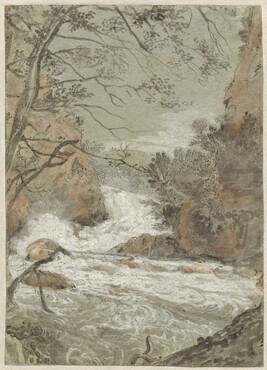 River Landscape with a Waterfall (recto)