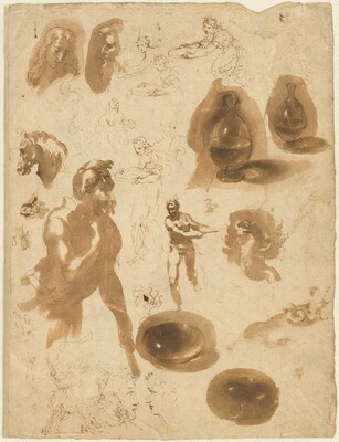 Studies of Glass Jars and Figures (recto)