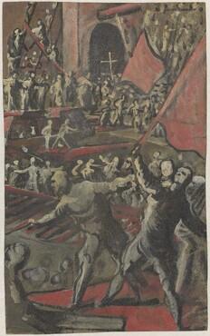 Venetian Soldiers Attacking Constantinople (recto)