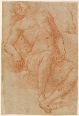 A Male Nude, Half Reclining