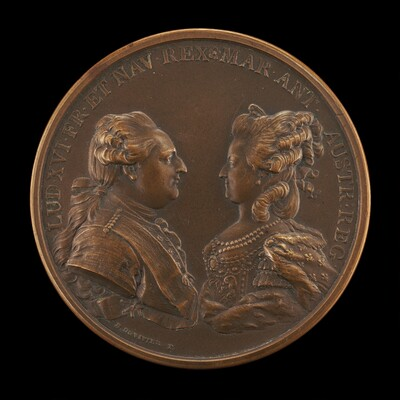 Louis XVI, 1754-1793, and Marie-Antoinette, 1755-1793, King and Queen of France 1774 [obverse]