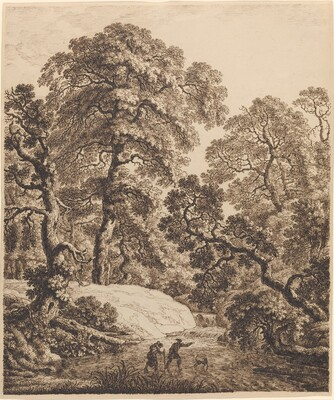 An Oak Forest with a Family of Travelers