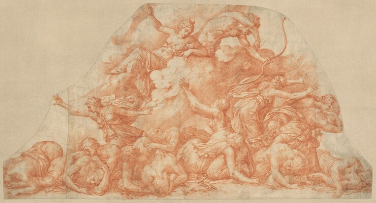 Pirro Ligorio, Diana and Apollo Slaughtering  the Children of Niobe, c. 1550c. 1550