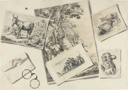 Trompe l'Oeil: Old Prints, a Torn Envelope with Horn-rimmed Glasses, and a Housefly