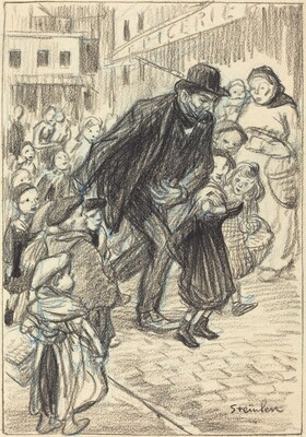 A Man on a City Street, Surrounded by Children (Un Père)