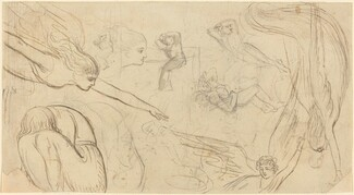 Sheet of Studies with Angels and Cowering Figures (Illustration for Macklin's Bible?)