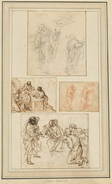 Studies of an Apostle Guided by an Angel and the Adoration of the Shepherds