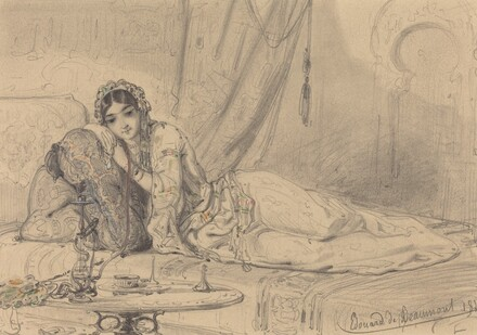 A Middle Eastern Woman Reclining in an Exotic Setting
