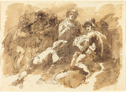 A Convivial Gathering with a Man Playing a Hurdy-Gurdy
