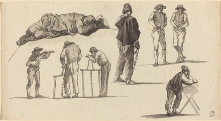 Figure Studies, Including One Man Sleeping on the Ground and Two Men Sawing