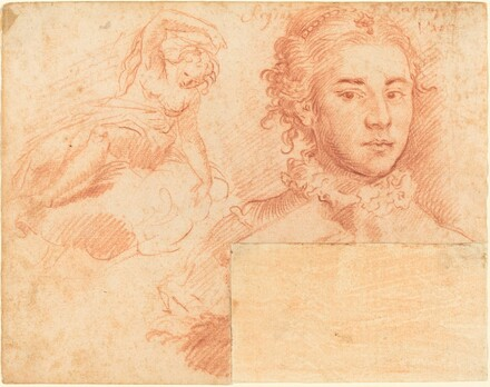 A Portrait of a Queen and a Study of a Woman Seated on a Cloud; verso, Sleeping Figure