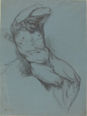 A Seated Male Nude with His Hands Crossed over His Head