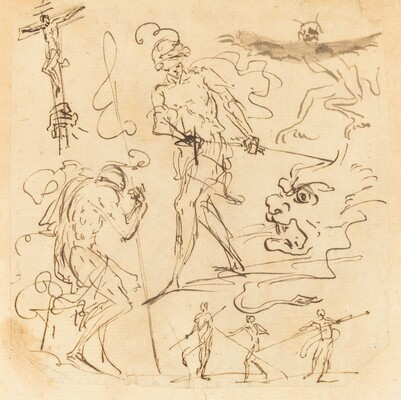 Sheet of Studies with a Soldier Drawing a Sword, a Crucifix, Monstrous Animals, and Other Figures