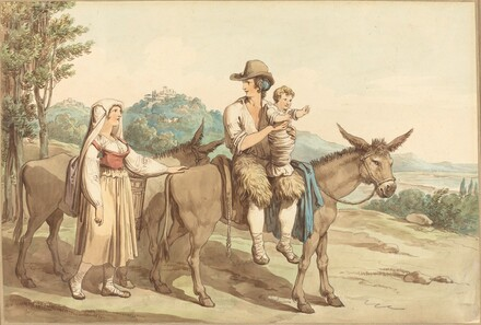 A Peasant Family and Two Donkeys