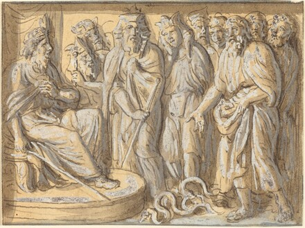 Moses and Aaron before Pharaoh, with the Rods Turned into Serpents