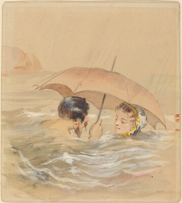 Male and Female Bathers with Umbrella